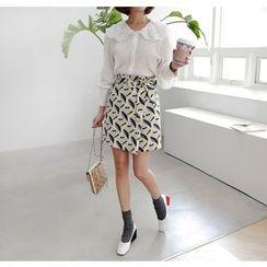 Miamasvin - Tie-Waist Pattern A-Line Skirt