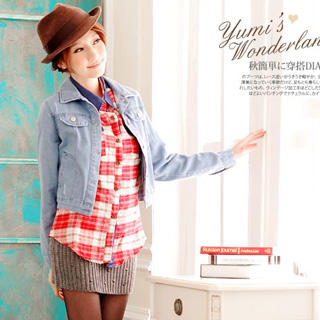 Denim-Panel Plaid Flannel Blouse