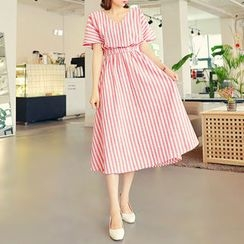 HOTPING - V-Neck Striped A-Line Dress