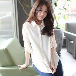 Mini Jule - 3/4-Sleeve Lace-Panel Chiffon Shirt