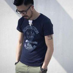 YIDESIMPLE - Short-Sleeve Print T-Shirt