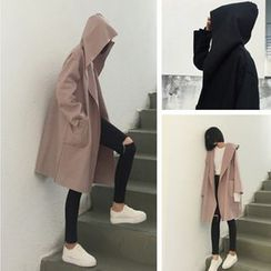 QZ Lady - Plain Hooded Knit Coat