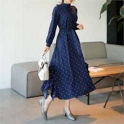 CHICLINE - Polka-Dot A-Line Long Dress