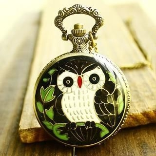 Miss Girl - Owl-Print Pocket Watch
