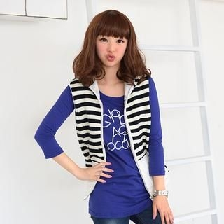 59 Seconds - Wool-Blend Stripe Knit Panel Hooded Vest