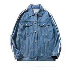 Chuoku - Striped Washed Denim Jacket