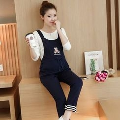 Soswift - Maternity Cartoon Pinafore Jumpsuit