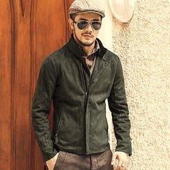 Mannmix - Faux Suede Zip Jacket