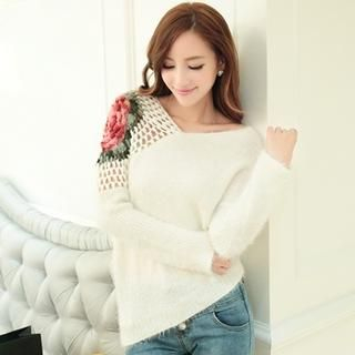 JK2 - Pointelle Floral Asymmetric-Hem Furry Sweater