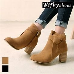 Wifky - Knotted Faux-Suede Ankle Boots