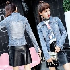 Romantica - Washed Studded Buttoned Denim Jacket