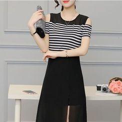 Dowisi - Stripe Panel Cold Shoulder Midi Dress