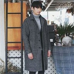 MITOSHOP - Glen-Plaid Wool Blend Coat