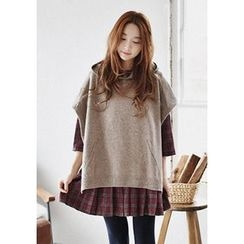 GOROKE - Hooded Wool Blend Knit Poncho Top