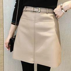 Little V - Faux Leather Mini Skirt