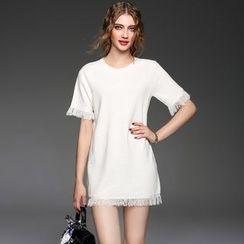 Ozipan - Short-Sleeve Fringe-Trim Knit Dress