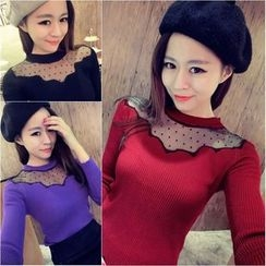 YOSH - Dotted Mesh Panel Long Sleeve Knit Top