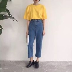 MePanda - Cropped Straight Fit Jeans