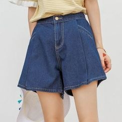 PopCult - Wide Leg Denim Shorts