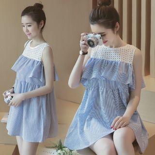 Ceres - 孕婦鏤空拼接條紋無袖連衣裙