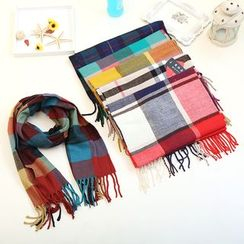 lalalove - 童装格子流苏围巾