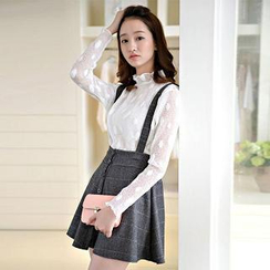 Colorful Shop - Set: Frilled Dotted Lace Top + Suspender Check Skirt