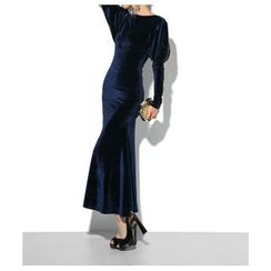 Lovi - Long-Sleeve Velvet Mermaid Evening Dress