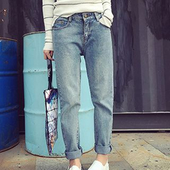 Eva Fashion - Washed Straight-Leg Jeans