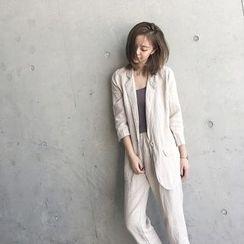 forever fair - 套装: 棉麻西装外套 + 裤子