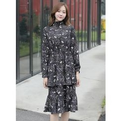 BBAEBBAE - Mock-Neck Floral Pattern Midi Tiered Dress