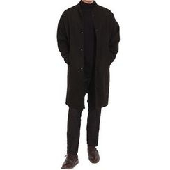 Seoul Homme - Snap-Button Wool Blend Coat