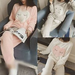 QZ Lady - Set: Fleece Sleep Top + Pants