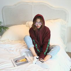 NANING9 - Hooded Lettering Print Pullover