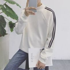 Soulcity - Stripe Mock-neck Long-Sleeve Sweatshirt