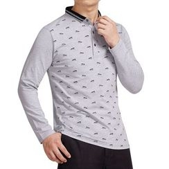 SENTA - Print Long Sleeve Polo Shirt