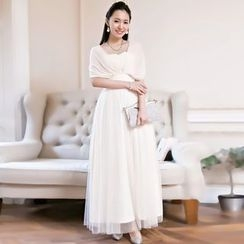 Holiday Lady - Sleeveless Sheer Panel Evening Gown