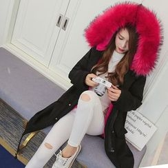 Raison d'etre - Furry-Trim Hooded Fleece-Lined Coat