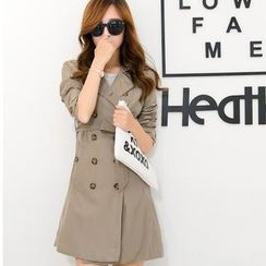 Flower Creek - Buttoned Double Breasted Trench Coat