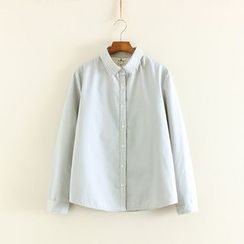 Mushi - Plain Long-Sleeve Blouse