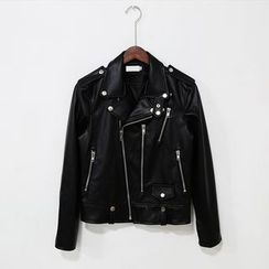 Mr. Cai - Faux-Leather Biker Jacket
