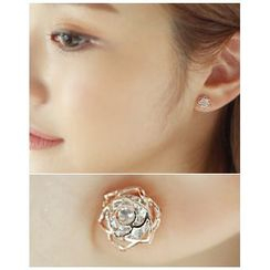 Miss21 Korea - Filigree Rhinestone Flower Earrings