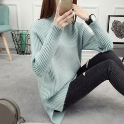 anzoveve - Mock Neck Ribbed Sweater
