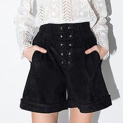 Richcoco - Lace Up High Waist Shorts