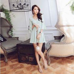 Tang House - Bell-Sleeve V-neck Pleated Chiffon Dress