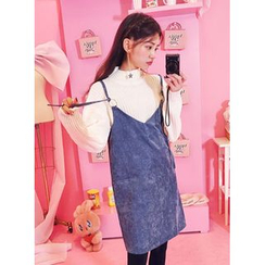 icecream12 - Corduroy Shift Pinafore Dress