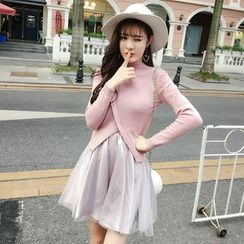RUI - Set: Plain Cardigan + Strappy Pleated Dress