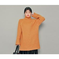 HOTPING - Turtle-Neck Ribbed Knit Minidress