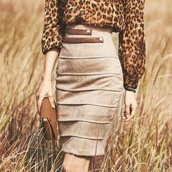 Clospace - Faux Suede Pencil Skirt