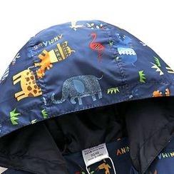 贝壳童装 - 儿童动物印花连帽风衣