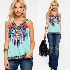 Chika - Sleeveless Printed Top